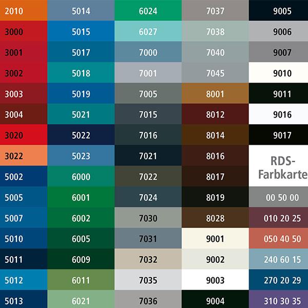 RAL Farben Tabelle - Neue Geländer Webseite